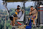 Makande, Gabon. The gondola of the dirigible in flight; Dany Cleyet-Marrel, Francois Collignon and Frans Breteler.