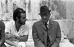 "MANUEL DE SICA CON PAOLO STOPPA<br /> SUL SET DE ""L'EROE"" DI MANUEL DE SICA ROMA 1974"