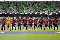 AUSTIN, TX - JULY 29: United States starting XI during a game between Qatar and USMNT at Q2 Stadium on July 29, 2021 in Austin, Texas.