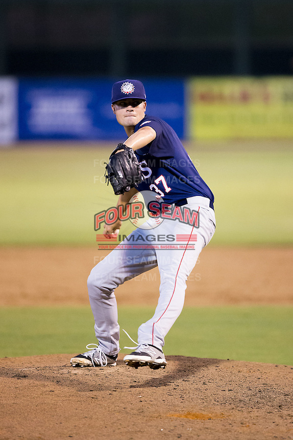 Hagerstown Suns relief pitcher Koda Glover (37) in action against the Kannapolis Intimidators at CMC-Northeast Stadium on July 19, 2015 in Kannapolis, North Carolina.  The Suns defeated the Intimidators 9-4.  (Brian Westerholt/Four Seam Images)