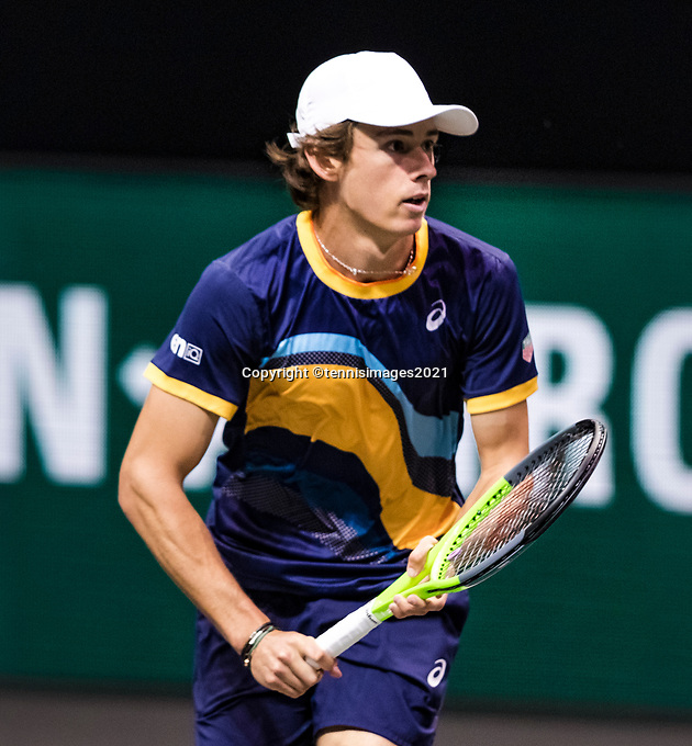 Rotterdam, The Netherlands, 3 march  2021, ABNAMRO World Tennis Tournament, Ahoy, First round match: Alex De Minaur (AUS).<br /> Photo: www.tennisimages.com/henkkoster