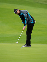 14.10.2014. The London Golf Club, Ash, England. The Volvo World Match Play Golf Championship.  Stephen Gallacher (SCO) putts on the first hole during the Pro-Am event.