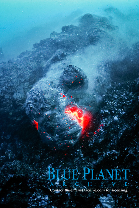 lava from Kilauea Volcano, erupts underwater, Hawaii Volcanoes National Park, Hawaii Island, Big Island, Hawaii, USA, Pacific Ocean