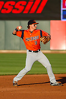 Bowling Green Hot Rods second baseman Ford Proctor (9) throws to first base  during a Midwest League game against the Cedar Rapids Kernels on May 2, 2019 at Perfect Game Field in Cedar Rapids, Iowa. Bowling Green defeated Cedar Rapids 2-0. (Brad Krause/Four Seam Images)