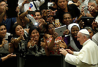 Papa Francesco saluta i fedeli al termine dell'udienza generale del mercoledi' in aula Paolo VI, Citta' del Vaticano, 3 agosto 2016.<br /> Pope Francis greets faithful couples at the end of his weekly general audience in the Paul VI hall at the Vatican, 3 August 2016.<br /> UPDATE IMAGES PRESS/Isabella Bonotto<br /> <br /> STRICTLY ONLY FOR EDITORIAL USE