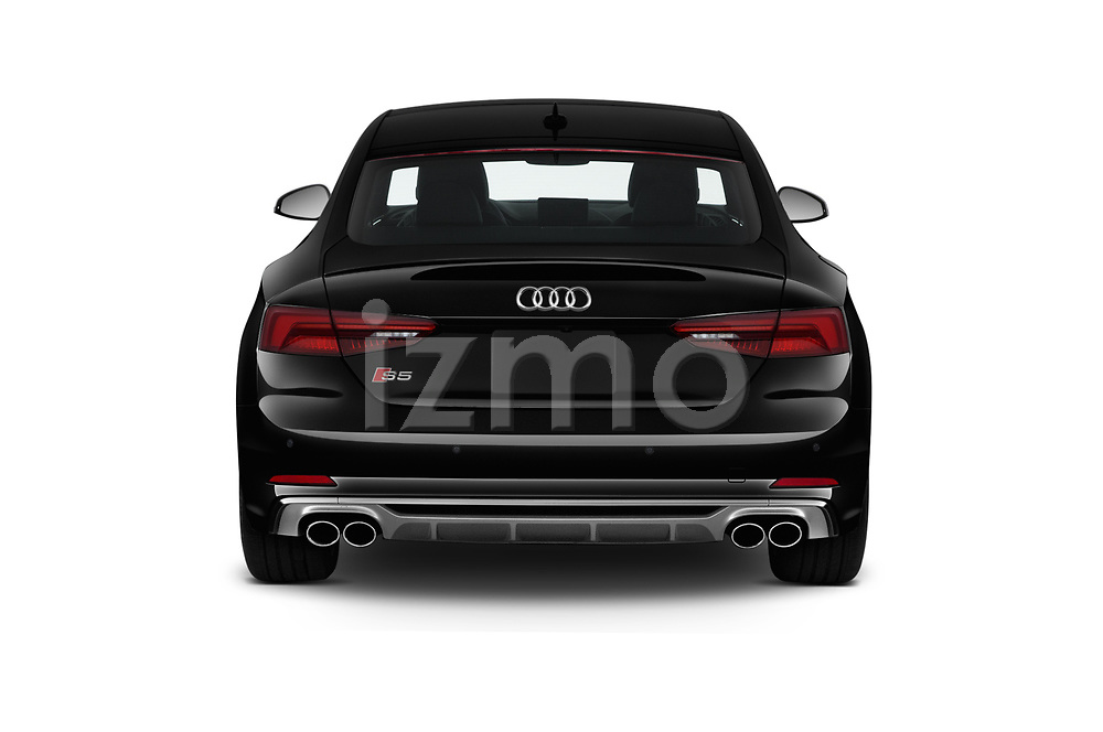 Straight rear view of a 2018 Audi S5 Premium Plus 2 Door Coupe stock images