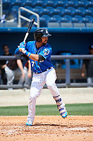 Biloxi Shuckers second baseman Javier Betancourt (7) at bat during a game against the Jackson Generals on April 23, 2017 at MGM Park in Biloxi, Mississippi.  Biloxi defeated Jackson 3-2.  (Mike Janes/Four Seam Images)