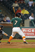Cameron Baranek (7) of the Greensboro Grasshoppers at bat against the West Virginia Power at First National Bank Field on June 1, 2018 in Greensboro, North Carolina. The Grasshoppers defeated the Power 10-3. (Brian Westerholt/Four Seam Images)