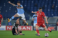 Robert Lewandowski of FC Bayern Munchen scores the goal of 0-1 during the Champions League round of 16 football match between SS Lazio and Bayern Munchen at stadio Olimpico in Rome (Italy), February, 23th, 2021. Photo Andrea Staccioli / Insidefoto