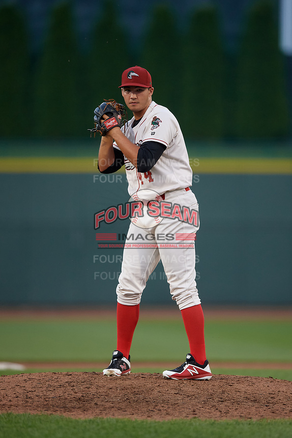 Great Lakes Loons pitcher Aaron Ochsenbein (44) during a Midwest League game against the Clinton LumberKings on July 19, 2019 at Dow Diamond in Midland, Michigan.  Clinton defeated Great Lakes 3-2.  (Mike Janes/Four Seam Images)