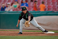 Dayton Dragons first baseman Cameron Warren (37) stretches for a throw during a Midwest League game against the Kane County Cougars on July 20, 2019 at Northwestern Medicine Field in Geneva, Illinois.  Dayton defeated Kane County 1-0.  (Mike Janes/Four Seam Images)