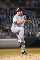 Pawtucket Red Sox relief pitcher Ryan Verdugo (26) in action against the Charlotte Knights at BB&T Ballpark on August 9, 2014 in Charlotte, North Carolina.  The Red Sox defeated the Knights  5-2.  (Brian Westerholt/Four Seam Images)