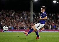 21st September 2021; Craven Cottage, Fulham, London, England; EFL Cup Football Fulham versus Leeds; Daniel James of Leeds United taking a penalty during the penalty shootout