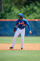 GCL Mets third baseman Cristopher Pujols (72) leads off second base during a game against the GCL Marlins on August 3, 2018 at St. Lucie Sports Complex in Port St. Lucie, Florida.  GCL Mets defeated GCL Marlins 3-2.  (Mike Janes/Four Seam Images)