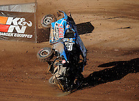 Apr 18, 2010; Surprise, AZ USA; LOORRS pro 2 unlimited driver Robby Woods (99) flips over during round four at Speedworld Off Road Park. Mandatory Credit: Mark J. Rebilas-US PRESSWIRE.
