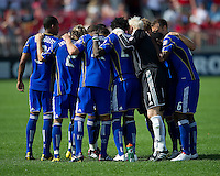 05 June 2010: Kansas City Wizards players huddle before the start of the second half during a game between the Kansas City Wizards and Toronto FC at BMO Field in Toronto..The game ended in a 0-0 draw.