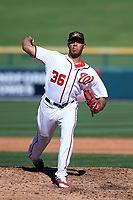 Mesa Solar Sox relief pitcher Jimmy Cordero (36), of the Washington Nationals organization, delivers a pitch to the plate during an Arizona Fall League game against the Glendale Desert Dogs on October 28, 2017 at Sloan Park in Mesa, Arizona. The Solar Sox defeated the Desert Dogs 9-6. (Zachary Lucy/Four Seam Images)