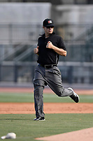 Field umpire Aaron Schorch works a game between the Rome Braves and the Columbia Fireflies on Sunday, July 2, 2017, at Spirit Communications Park in Columbia, South Carolina. Columbia won, 3-2. (Tom Priddy/Four Seam Images)