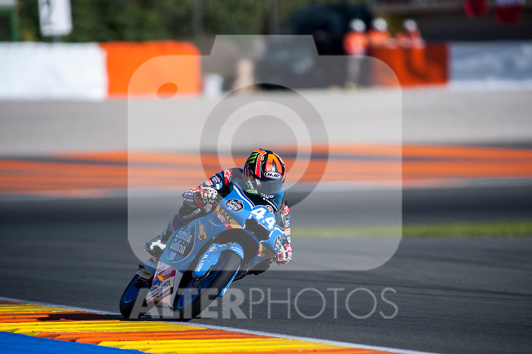 VALENCIA, SPAIN - NOVEMBER 11: Aron Canet during Valencia MotoGP 2016 at Ricardo Tormo Circuit on November 11, 2016 in Valencia, Spain