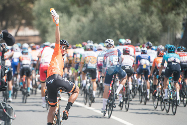The peloton during Stage 11 of La Vuelta d'Espana 2021, running 133.6km from Antequera to Valdepeñas de Jaén, Spain. 25th August 2021.     <br /> Picture: Unipublic/Charly Lopez   Cyclefile<br /> <br /> All photos usage must carry mandatory copyright credit (© Cyclefile   Charly Lopez/Unipublic)