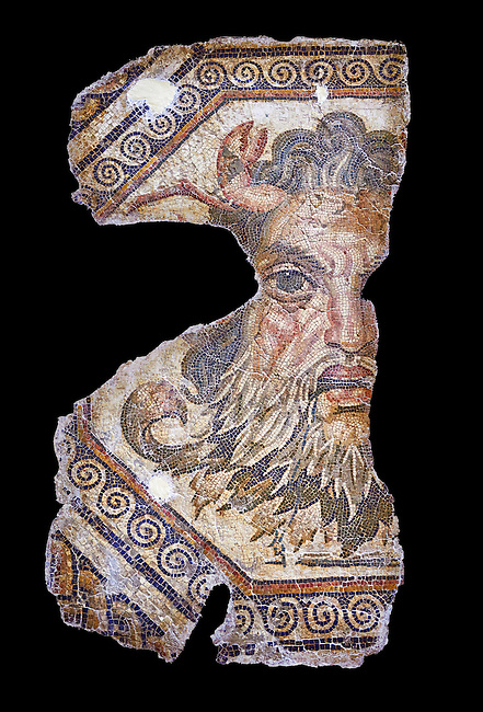 2nd century AD Roman mosaic depictiong Neptune. From Augusti (Sidi El Heni), Tunisia.  The Bardo Museum, Tunis, Tunisia. black background