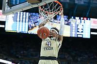 CHAPEL HILL, NC - JANUARY 4: Jordan Usher #4 of Georgia Tech dunks the ball during a game between Georgia Tech and North Carolina at Dean E. Smith Center on January 4, 2020 in Chapel Hill, North Carolina.