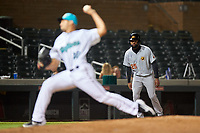 Mesa Solar Sox Jo Adell (25), of the Los Angeles Angels organization, leads off third base during an Arizona Fall League game against the Salt River Rafters on September 27, 2019 at Salt River Fields at Talking Stick in Scottsdale, Arizona. Salt River defeated Mesa 6-1. (Zachary Lucy/Four Seam Images)