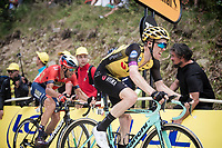 Steven Kruijswijk (NED/Jumbo-Visma) followed closely by Vincenzo Nibali (ITA/Bahrain-Merida) up the gravel section in the final stretch to the finish line up La Planche des Belles Filles<br /> <br /> Stage 6: Mulhouse to La Planche des Belles Filles (157km)<br /> 106th Tour de France 2019 (2.UWT)<br /> <br /> ©kramon