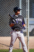 Colorado Rockies Noel Cuevas (8) during practice before an Instructional League game against SK Wyvern of Korea on October 5, 2016 at Salt River Fields at Talking Stick in Scottsdale, Arizona.  (Mike Janes/Four Seam Images)