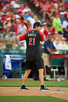 New York Yankees great Paul O'Neill bats during the All-Star Legends and Celebrity Softball Game on July 12, 2015 at Great American Ball Park in Cincinnati, Ohio.  (Mike Janes/Four Seam Images)