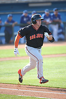 Harrison Freed (12) of the San Jose Giants runs to first base against the Rancho Cucamonga Quakes at LoanMart Field on August 22, 2021 in Rancho Cucamonga, California. (Larry Goren/Four Seam Images)