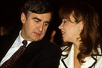 "Montreal (Qc) CANADA - File Photo - Jan 1996 -<br /> <br /> Lucien Bouchard,  Leader Parti Quebecois (from Jan 29, 1996 to March 2, 2001). seen in a file photo with his wife Audrey Best.<br /> <br /> After the Yes side lost the 1995 referendum, Parizeau resigned as Quebec premier. Bouchard resigned his seat in Parliament in 1996, and became the leader of the Parti QuÈbÈcois and premier of Quebec.<br /> <br /> On the matter of sovereignty, while in office, he stated that no new referendum would be held, at least for the time being. A main concern of the Bouchard government, considered part of the necessary conditions gagnantes (""winning conditions"" for the feasibility of a new referendum on sovereignty), was economic recovery through the achievement of ""zero deficit"". Long-term Keynesian policies resulting from the ""Quebec model"", developed by both PQ governments in the past and the previous Liberal government had left a substantial deficit in the provincial budget.<br /> <br /> Bouchard retired from politics in 2001, and was replaced as Quebec premier by Bernard Landry."