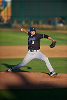 Missoula Osprey relief pitcher Mitchell Stumpo (9) during a Pioneer League game against the Great Falls Voyagers at Centene Stadium at Legion Park on August 19, 2019 in Great Falls, Montana. Missoula defeated Great Falls 4-1 in the first game of a doubleheader. Games were moved from Missoula after Ogren Park at Allegiance Field, the Osprey's home field, was ruled unplayable. (Zachary Lucy/Four Seam Images)