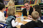 Nevada Gov. Brian Sandoval's senior advisor Dale Erquiaga talks with first gradeers at Pleasant Valley Elementary School south of Reno, Nev., on Tuesday, Feb. 7, 2012. .Photo by Cathleen Allison