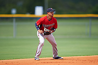 GCL Twins shortstop Royce Lewis (4) during the first game of a doubleheader against the GCL Rays on July 18, 2017 at Charlotte Sports Park in Port Charlotte, Florida.  GCL Twins defeated the GCL Rays 11-5 in a continuation of a game that was suspended on July 17th at CenturyLink Sports Complex in Fort Myers, Florida due to inclement weather.  (Mike Janes/Four Seam Images)