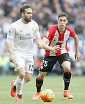 Real Madrid's Daniel Carvajal (l) and Athletic de Bilbao's Sabin Merino during La Liga match. February 13,2016. (ALTERPHOTOS/Acero)