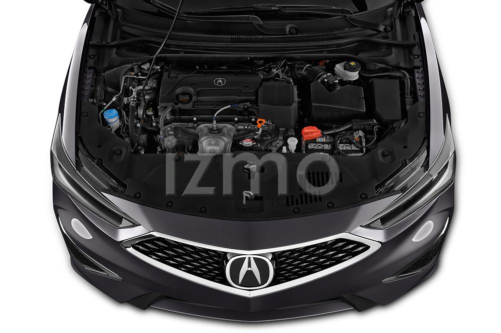 Car stock 2019 Acura ILX Premium 4 Door Sedan engine high angle detail view