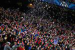 Atletico de Madrid´s /supporters celebrate a goal during the UEFA Champions League round of 16 second leg match between Atletico de Madrid and Bayer 04 Leverkusen at Vicente Calderon stadium in Madrid, Spain. March 17, 2015. (ALTERPHOTOS/Victor Blanco)