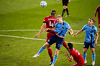 HARRISON, NJ - SEPTEMBER 23: HARRISON, NJ - Wednesday, September 23, 2020: Omar Gonzalez, Keaton Parks during a game between New York City FC and Toronto FC on September 23, 2020 at Red Bull Arena in Harrison, New Jersey during a game between Toronto FC and New York City FC at Red Bull Arena on September 23, 2020 in Harrison, New Jersey.