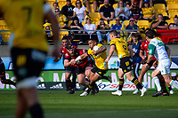 Ngani Laumape makes a break during the Super Rugby Aotearoa match between the Hurricanes and Crusaders at Sky Stadium in Wellington, New Zealand on Sunday, 11 April 2020. Photo: Dave Lintott / lintottphoto.co.nz