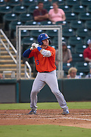 St. Lucie Mets Matt O'Neill (5) bats during a game against the Fort Myers Mighty Mussels on June 3, 2021 at Hammond Stadium in Fort Myers, Florida.  (Mike Janes/Four Seam Images)
