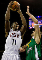 US forward (11) Dwight Howard shoots over Lithuania center (15) Robertas Javotokas while playing at the Cotai Arena inside the Venetian Macau Resort and Hotel.  The US defeated Lithuania, 120-84.