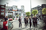 Trek-Drops team at sign on before the 2018 Liege-Bastogne-Liege Femmes running 136km from Bastogne to Ans, Belgium. 22nd April 2018.<br /> Picture: ASO/Thomas Maheux | Cyclefile<br /> All photos usage must carry mandatory copyright credit (© Cyclefile | ASO/Thomas Maheux)