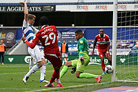 Middlesbrough's Djed Spence puts the ball between the legs of Queens Park Rangers' Seny Dieng<br /> <br /> Photographer Stephanie Meek/CameraSport<br /> <br /> The EFL Sky Bet Championship - Queens Park Rangers v Middlesbrough - Saturday 26th September 2020 - Loftus Road - London <br /> <br /> World Copyright © 2020 CameraSport. All rights reserved. 43 Linden Ave. Countesthorpe. Leicester. England. LE8 5PG - Tel: +44 (0) 116 277 4147 - admin@camerasport.com - www.camerasport.com