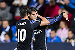 Alvaro Morata of Real Madrid celebrates with teammate James Rodriguez during their La Liga match between Deportivo Leganes and Real Madrid at the Estadio Municipal Butarque on 05 April 2017 in Madrid, Spain. Photo by Diego Gonzalez Souto / Power Sport Images