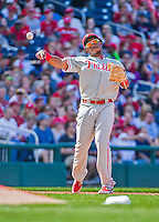 23 May 2015: Philadelphia Phillies infielder Maikel Franco in action against the Washington Nationals at Nationals Park in Washington, DC. The Phillies defeated the Nationals 8-1 in the second game of their 3-game weekend series. Mandatory Credit: Ed Wolfstein Photo *** RAW (NEF) Image File Available ***