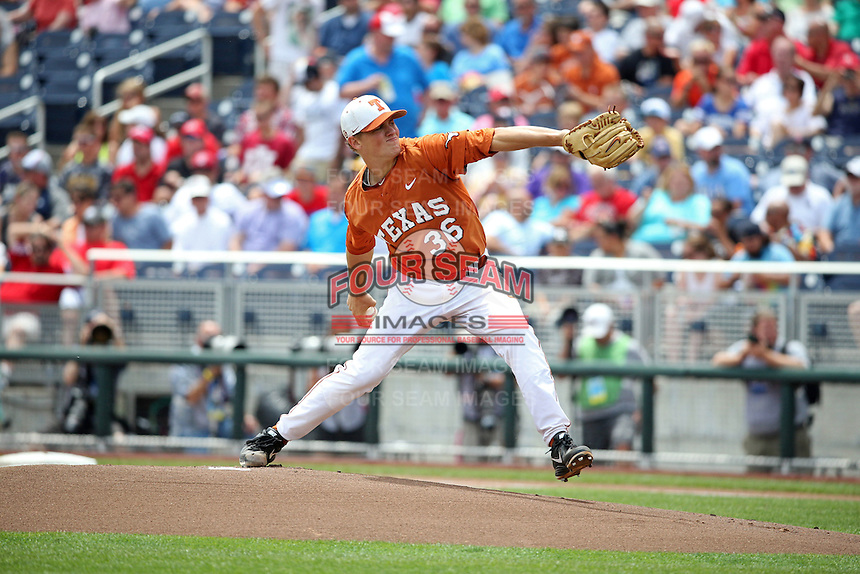 Nathan Thornhill #36 of the Texas Longhorns pitches during Game 1 of the 2014 Men's College World Series between the UC Irvine Anteaters and Texas Longhorns at TD Ameritrade Park on June 14, 2014 in Omaha, Nebraska. (Brace Hemmelgarn/Four Seam Images)