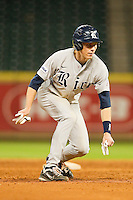 Jeremy Rathjen #3 of the Rice Owls takes his lead off of second base against the Tennessee Volunteers at Minute Maid Park on March 4, 2012 in Houston, Texas.  The Owls defeated the Volunteers 11-1.  Brian Westerholt / Four Seam Images