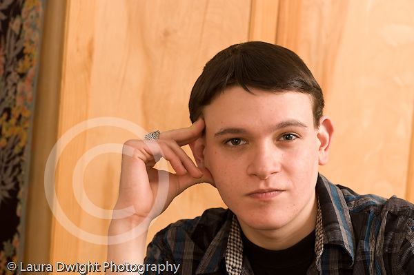 Closeup portrait of 19 year old teenage boy Caucasian horizontal