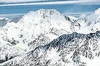 Caroline Face of Aoraki Mount Cook 3724m highest mountain of Southern Alps. Malte Brun in foreground, Aoraki Mount Cook National Park, UNESCO World Heritage Area,  Mackenzie Country, New Zealand, NZ